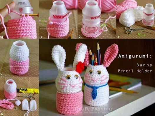 DIY Bunny Pencil Holders Wonderful DIY bunny pencil holder