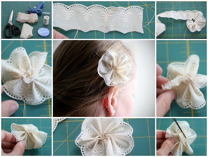 DIY flower pin Wonderful DIY lace flower pin