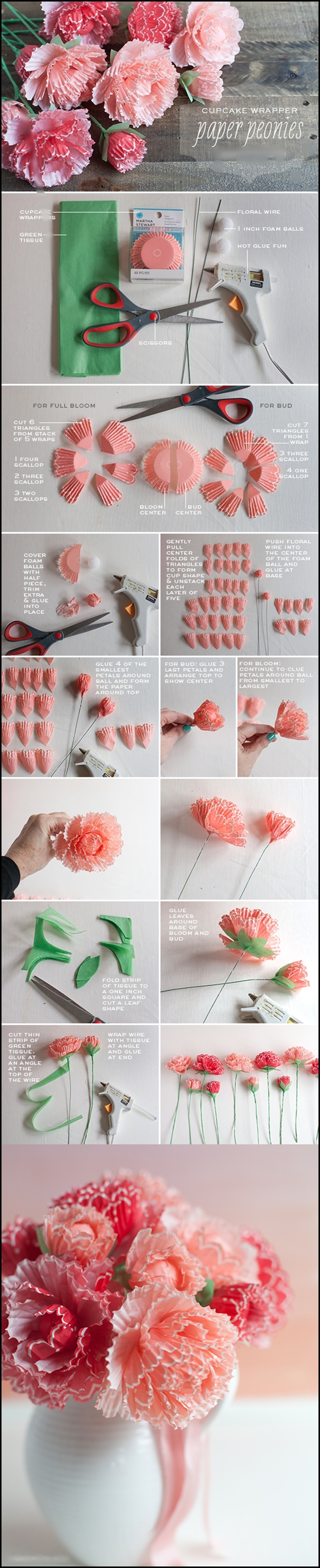 Peonies made from cupcake wrappers m Wonderful DIY Peonies from cupcake wrappers