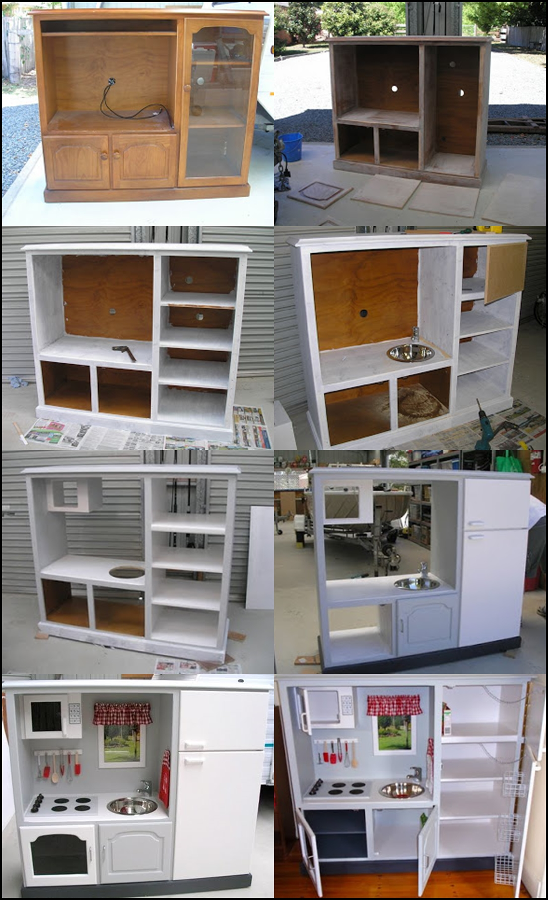 Play Kitchen m Wonderful DIY Play Kitchen from TV cabinets