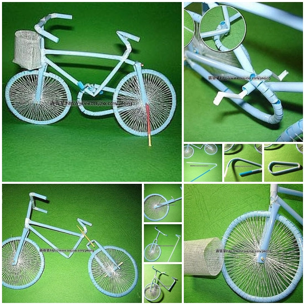 bicycle with drinking straw f Wonderful DIY bicycle from drinking straw