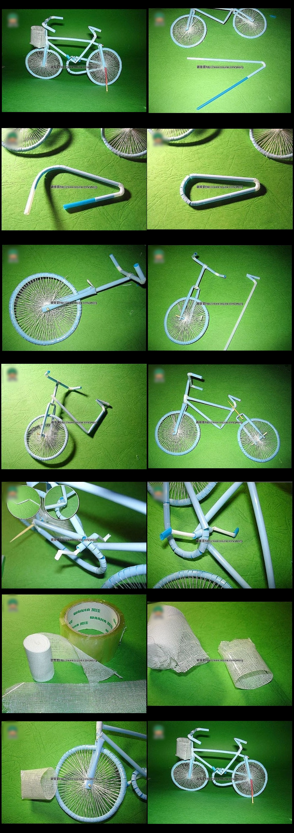 bicycle with drinking straw m
