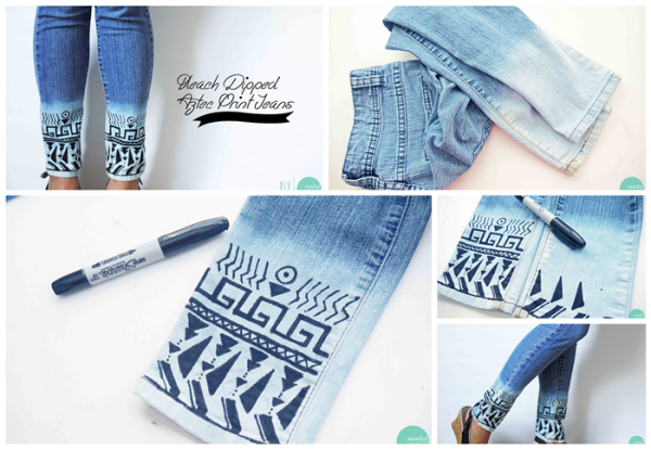 bleach aztec jeans wonderfuldiy 36 Wonderful Ideas and Tutorials to Refashion Your Old  Jeans