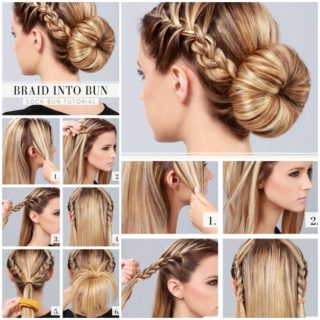 Wonderful DIY braid into bun hairstyle