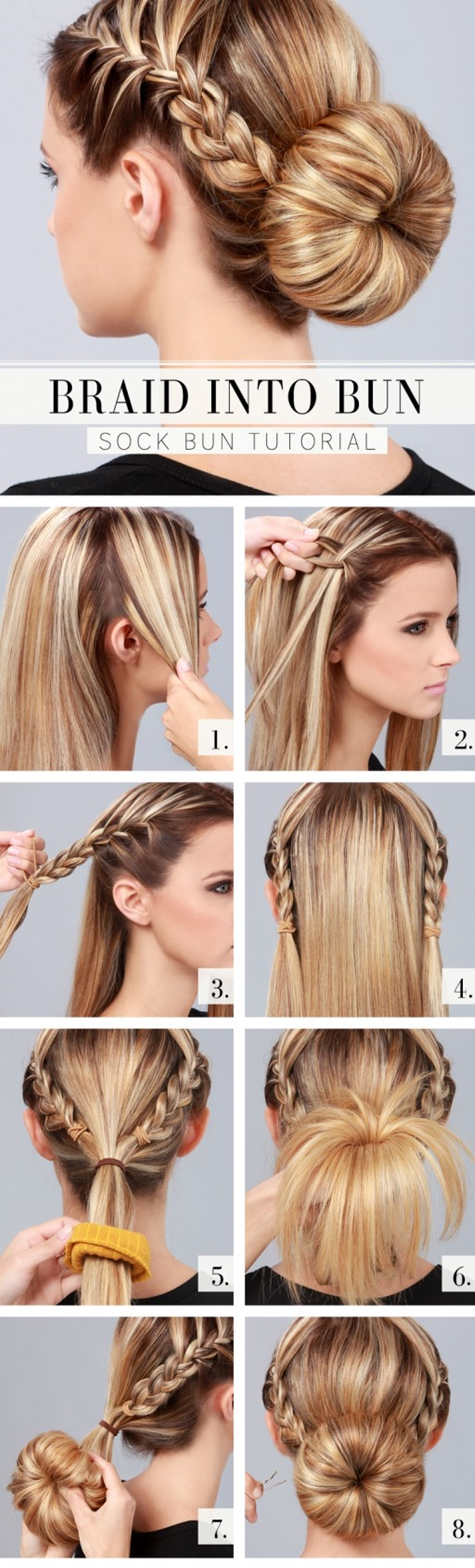 braid into bun hair style L Wonderful DIY braid into bun hairstyle