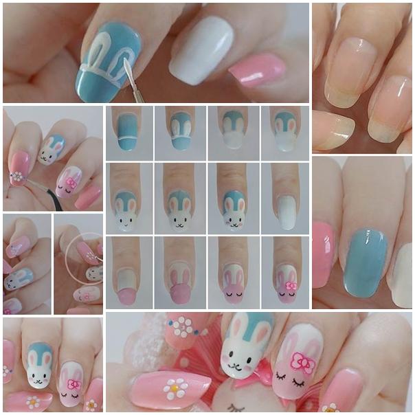 bunny nail f Wonderful DIY Easter bunny nail