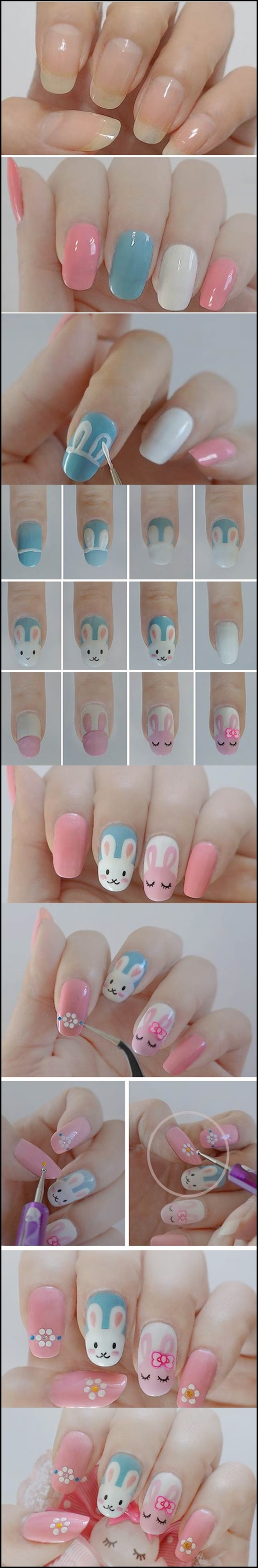 bunny nail m Wonderful DIY Easter bunny nail