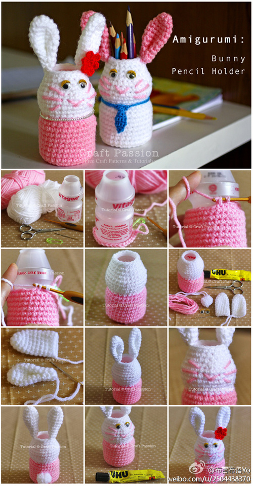 bunny pencil holder F Wonderful DIY bunny pencil holder