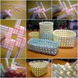 Wonderful DIY Creative Drinking Straw Basket