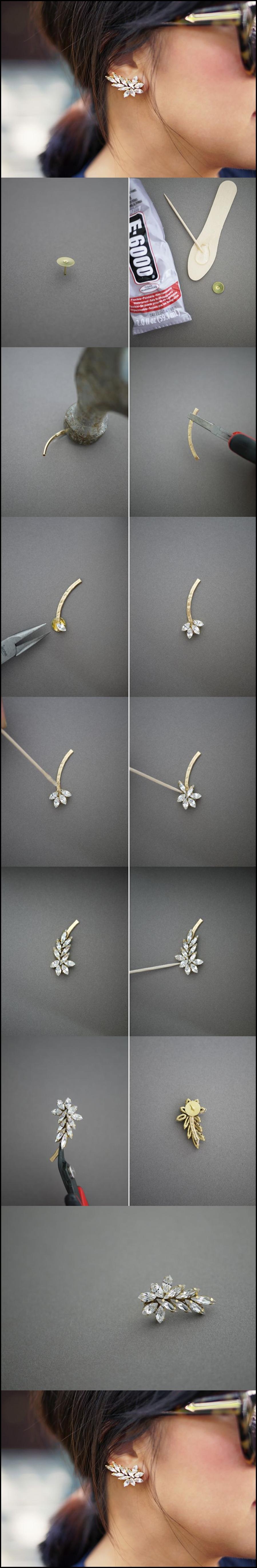 leafy earring M Wonderful DIY beautiful leafy earrings