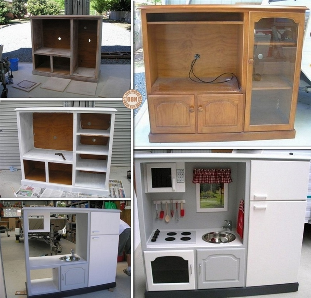 play kitchen f Wonderful DIY Play Kitchen from TV cabinets
