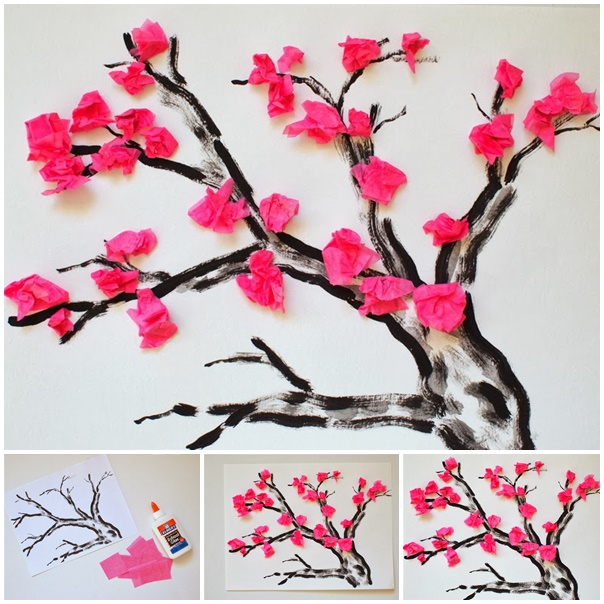 tissue paper Cherry Blossom Flower  -wonderfuldiy