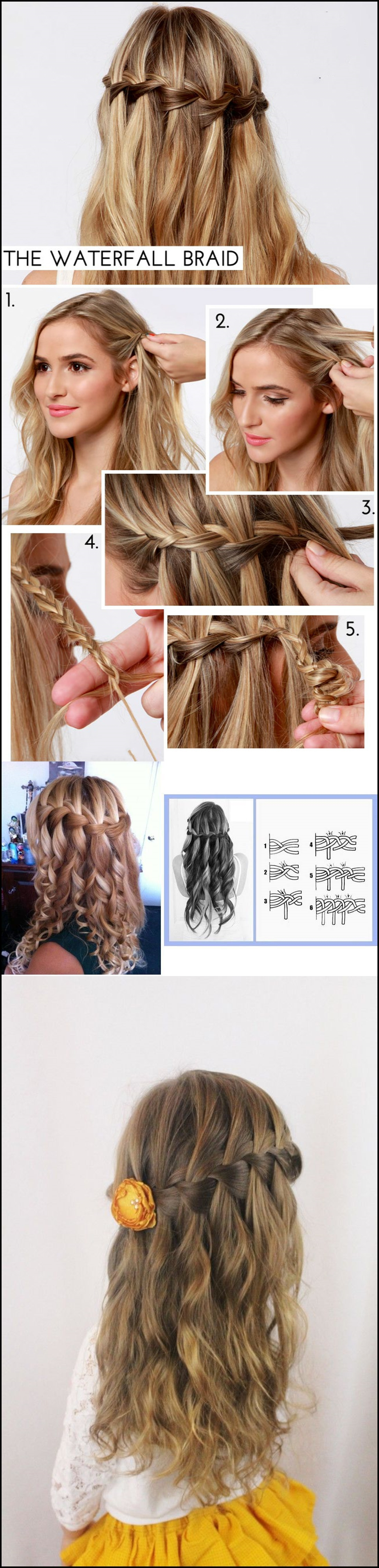waterfal lbraid hairstyle m Wonderful DIY waterfall braid hairstyle