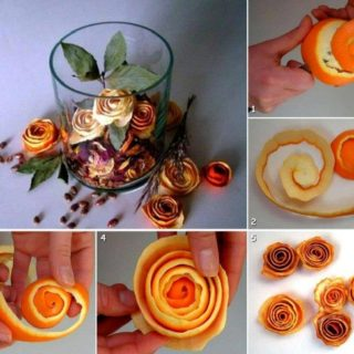 Wonderful DIY Beautiful Rose From Orange Peel