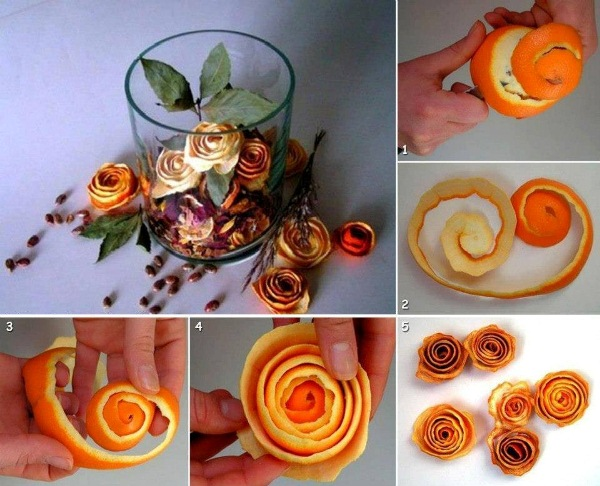A Rose From Orange Peel  Wonderful DIY Beautiful Orange Rind Votives