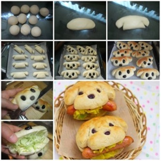 Bake Dog Shape Hot Dog Sandwich i 332x332 Wonderful DIY Cute Hot Dog Sandwich