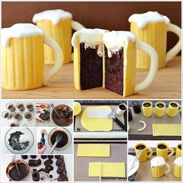 Beer mug cupcakes Wonderful DIY Beer Mug Cupcakes with Baileys Filling
