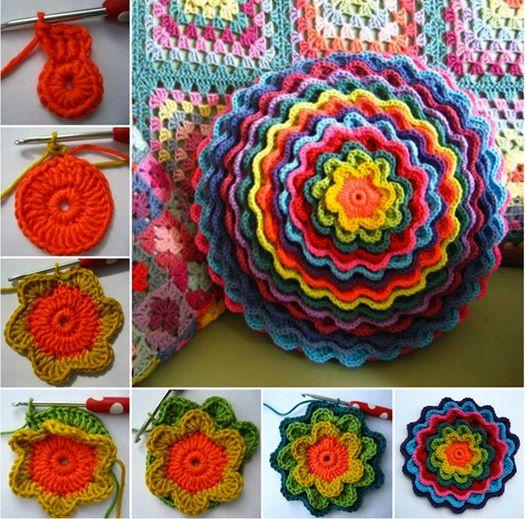 Blooming Flower Cushion Wonderful DIY Crochet Flower Cushion