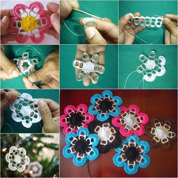 Crochet Tab Pop Ring Flower F11 DIY Soda Can Tab Flowers   Five Simple Steps, a Thousand Uses