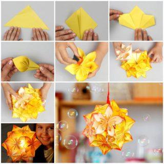 Wonderful DIY Origami kusudama flower ball