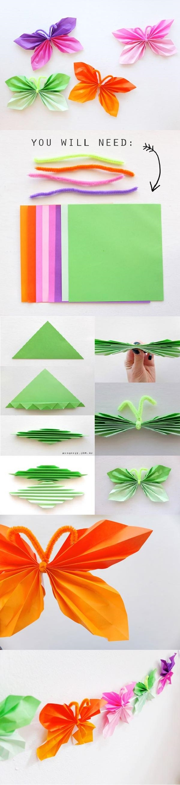 Easy Folded Paper Butterflies M1 Wonderful DIY  Super Easy Folded Paper Butterflies