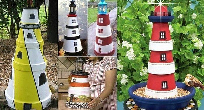 Garden terra cotta pots lighthouse How to Make a Terra Cotta Clay Pots Lighthouse