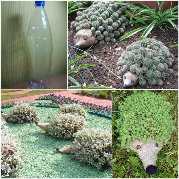 Hedgehog Planter from Plastic Bottle F