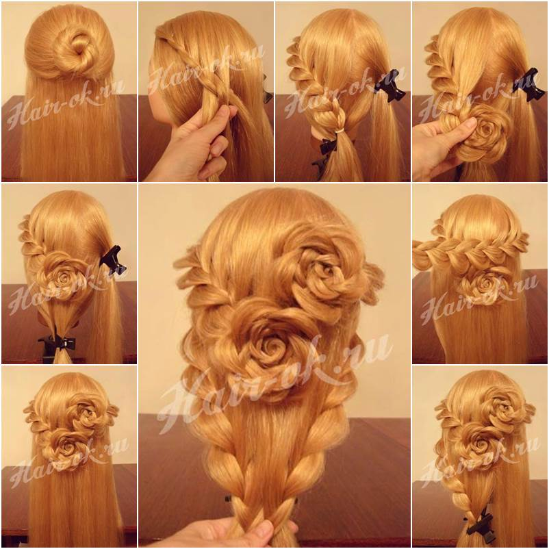 How To DIY Pretty Rose Braids Hairstyle Luxurious Lace Braid Rose Hairstyle Guide