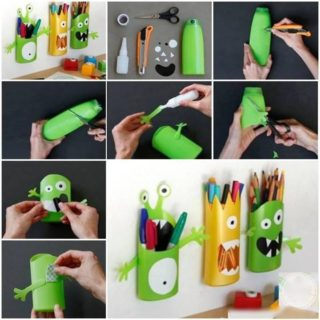 Wonderful DIY  Monster Pencil Holders From Shampoo Bottles