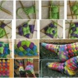 Wonderful DIY Lovely Rainbow Patch Knitted Socks