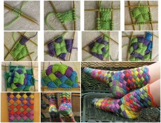 Lovely Rainbow Patch Knitted Socks F Wonderful DIY Lovely Rainbow Patch Knitted Socks