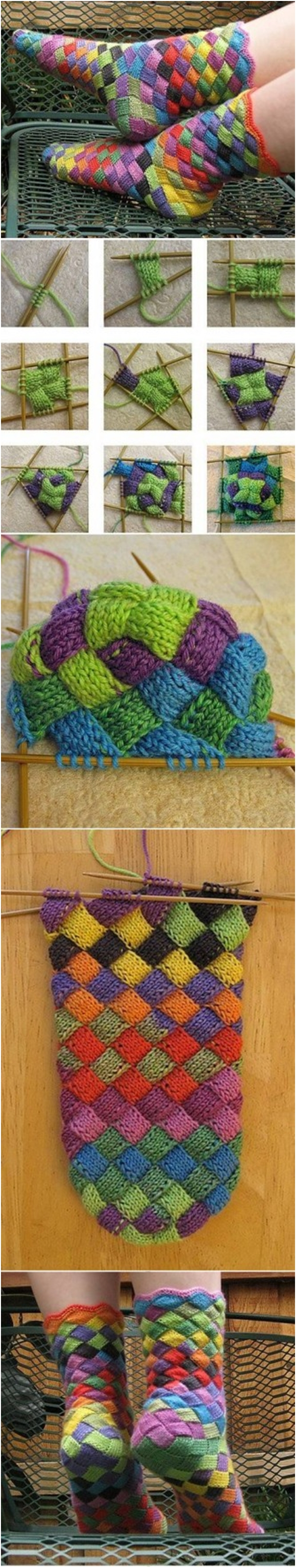 Lovely Rainbow Patch Knitted Socks M Wonderful DIY Lovely Rainbow Patch Knitted Socks