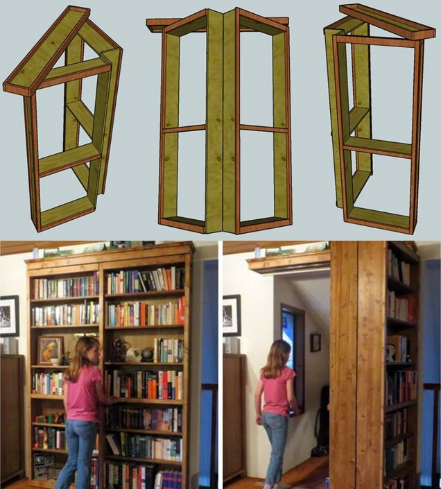 Secret door bookcase F Wonderful DIY Combo Bookshelf And  Secret Door