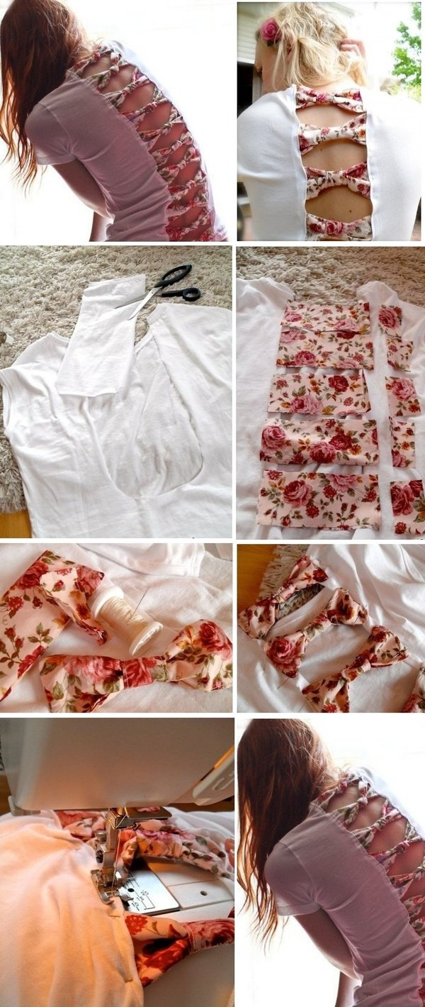T shirt with bows Wonderful DIY Refashion Old T shirt