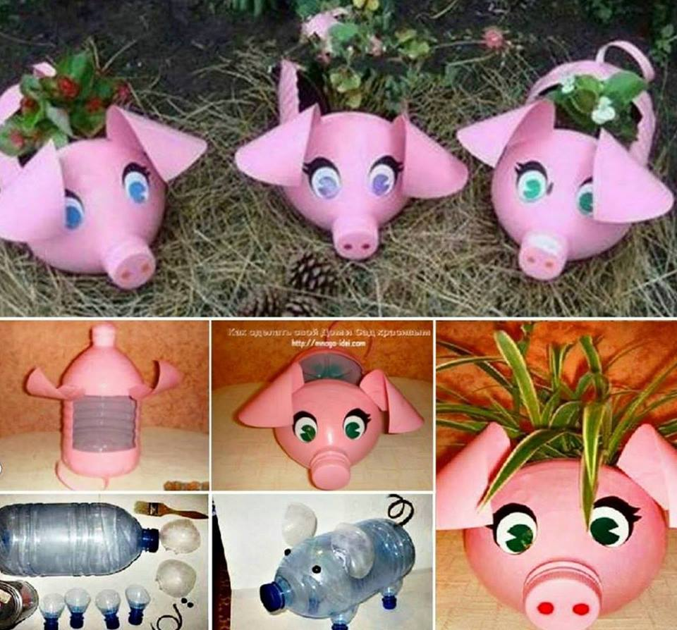 Upcycle Plastic Bottles into these adorable Piggy Planters Wonderful DIY Piglet Planter  from Plastic Bottles
