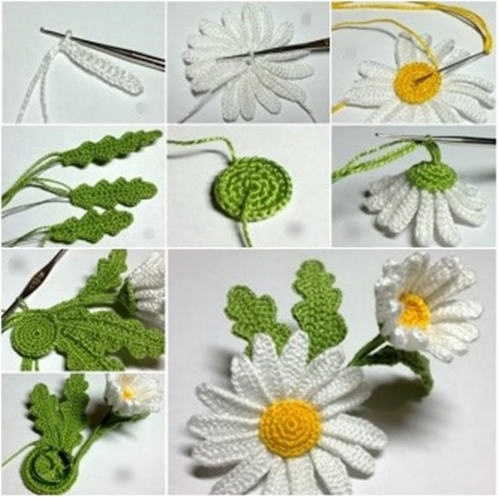 crochet 3D daisy F Wonderful DIY Crochet 3D Daisy Flower