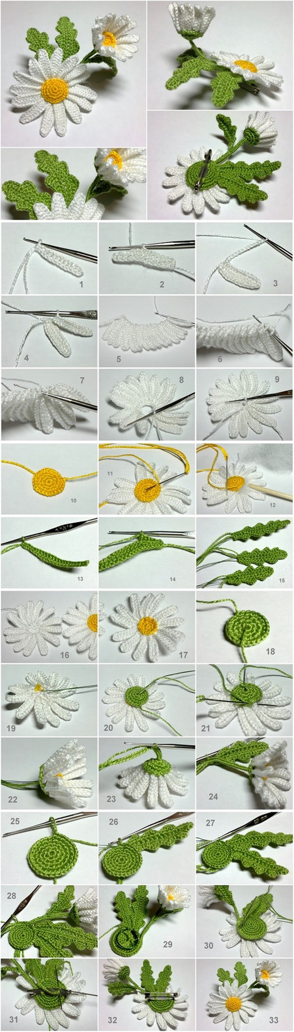 crochet 3D daisy M Wonderful DIY Crochet 3D Daisy Flower
