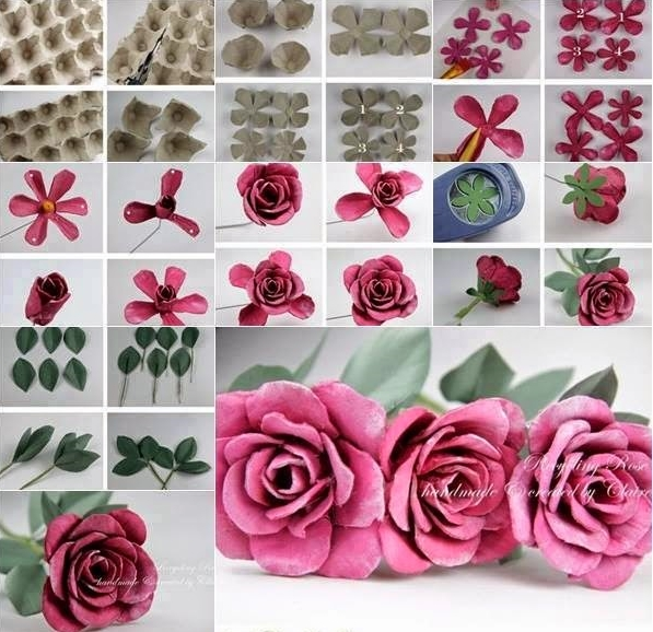 egg carton rose F Extraordinary Egg Carton Decorative Flowers