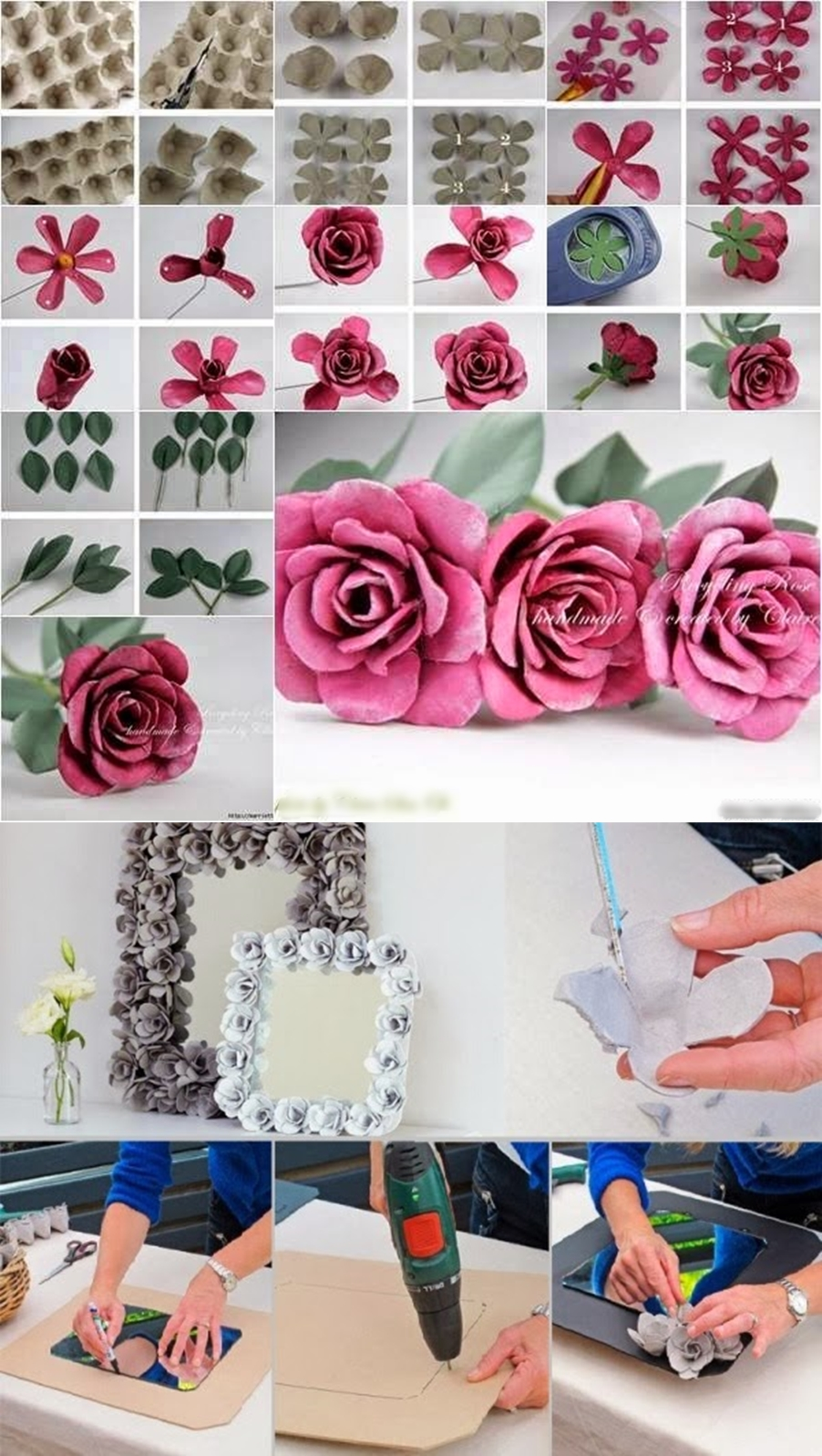 egg carton rose M Extraordinary Egg Carton Decorative Flowers