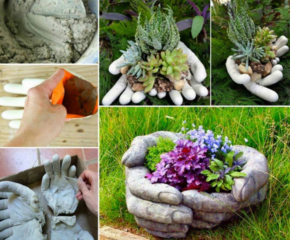 fabulous Cement Hand Planters-wonderfuldiy