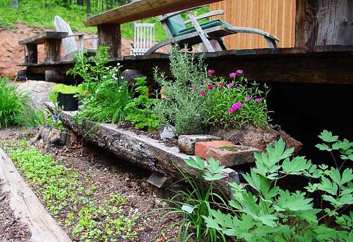 old log planter