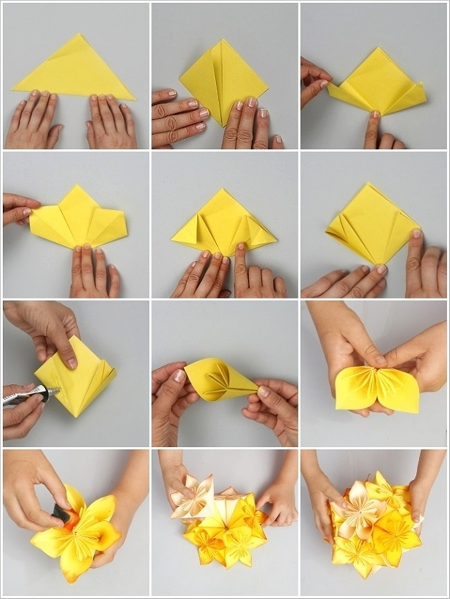 origami flower M Wonderful DIY Origami kusudama flower ball