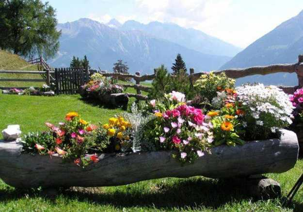 outdoor log flower planter