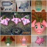 Wonderful DIY Piglet Planter  from Plastic Bottles