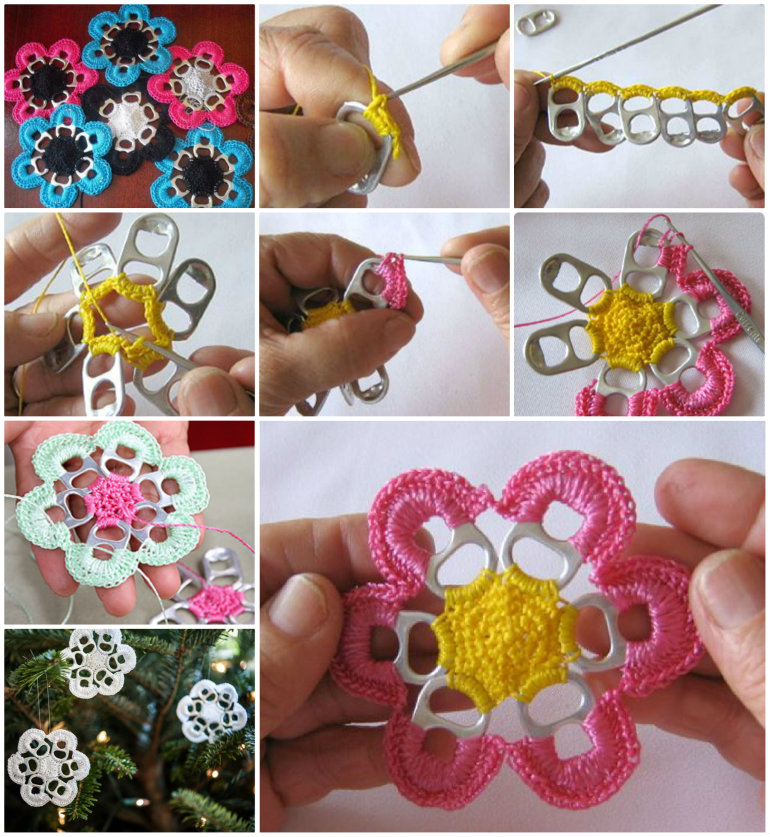 soda tab Crochet Flowers 1 DIY Soda Can Tab Flowers   Five Simple Steps, a Thousand Uses