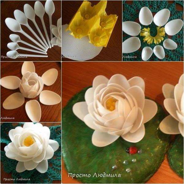 Wonderful Diy Waterlily Flowers Out Of Plastic Spoons
