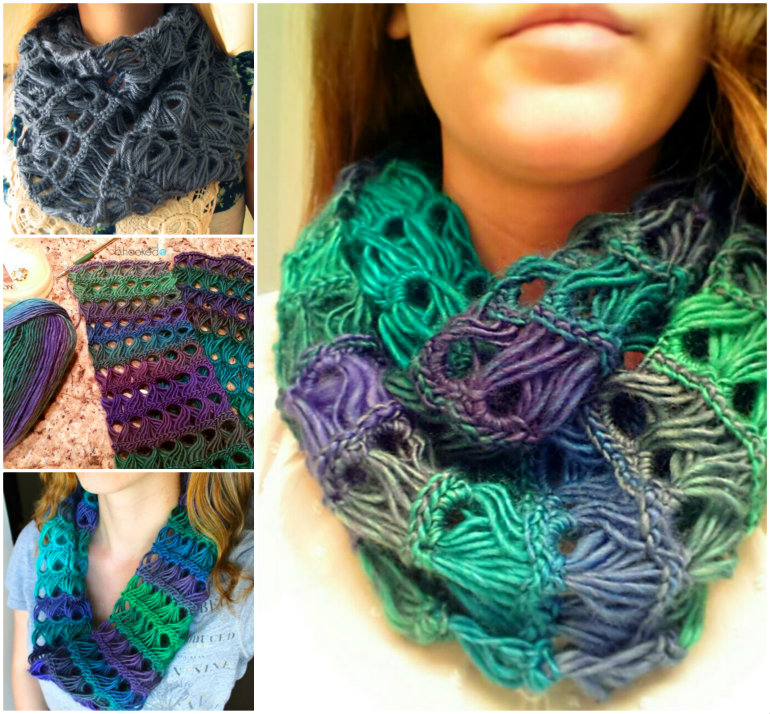 Broomstick-Lace-Infinity-Scarf-free pattern-wonderfuldiy
