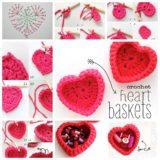 Wonderful DIY Crochet Heart  Baskets