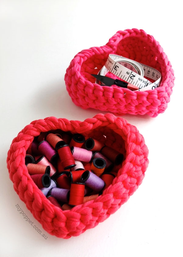Crochet Heart Shaped Storage Baskets18