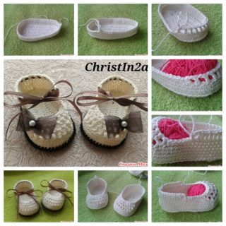 Classic Crochet Ribbon-Tie Shoes for Bonnie Babies
